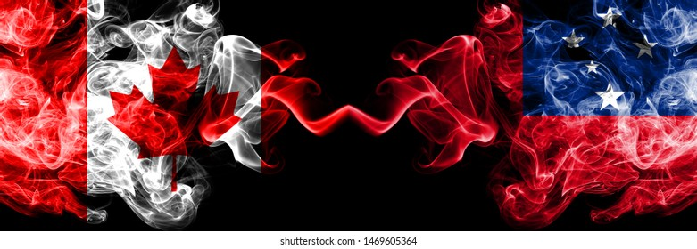 Canada vs Samoa, Samoan smoky mystic flags placed side by side. Thick colored silky smoke flags of Canadian and Samoa, Samoan