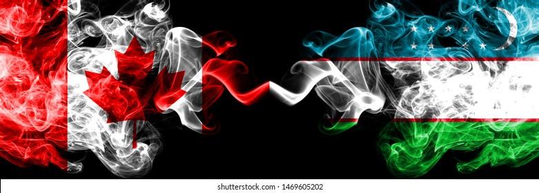 Canada vs Uzbekistan, Uzbek smoky mystic flags placed side by side. Thick colored silky smoke flags of Canadian and Uzbekistan, Uzbek