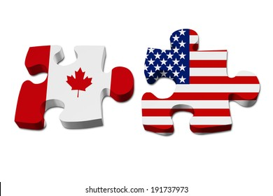 Canada working with USA, Puzzle pieces with the Canadian flag and USA flag isolated over white