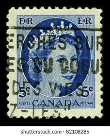 CANADA-CIRCA 1954:A stamp printed in CANADA shows image of Elizabeth II (Elizabeth Alexandra Mary, born 21 April 1926) is the constitutional monarch of United Kingdom in blue, circa 1954.