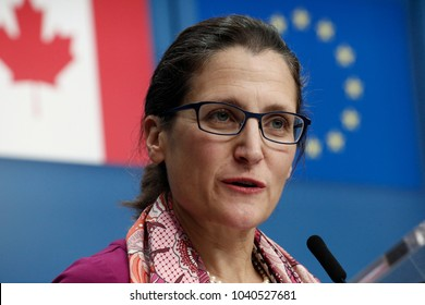 Canada's Foreign Minister Chrystia Freeland gives a press conference in Brussels, Belgium on Dec. 4, 2017