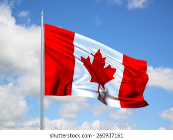 Canadian 3d flag floating in the wind. 3d illustration.