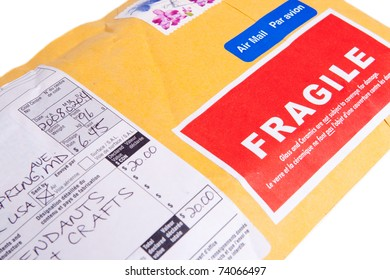 Canadian air mail package with customs declarations form marked fragile.