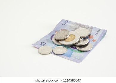 Canadian Cash in a White Background
