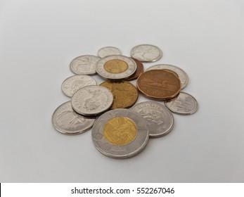 Canadian coins money currency toonies loonies quarters dimes nickels