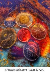 Canadian coins, penny, nickel, dime, quarter, loonie, toonie, money
