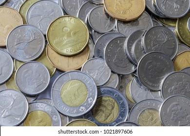 Canadian Coins in Pile