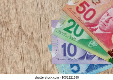 canadian dollar on wooden table close up