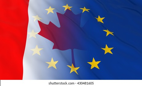 Canadian and European Union Relations Concept - Merged Flags of Canada and the EU 3D Illustration