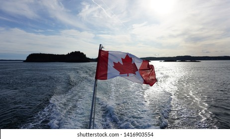 Canadian flag against Lake - Water Bckground Canada Flag