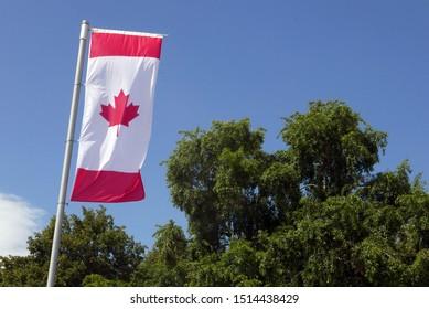 Canadian flag against the sky