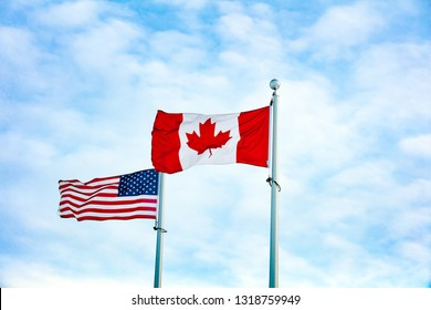 Canadian Flag with American Flag