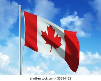 canadian flag in blue sky background - 3d rendered image
