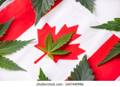 Canadian flag with cannabis leaf - canada marijuana concept background