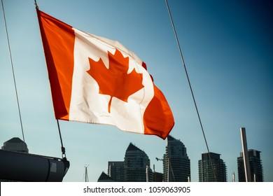 Canadian flag and city skyline, Toronto, Canada
