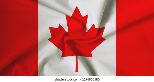 Canadian flag, with a fabric texture