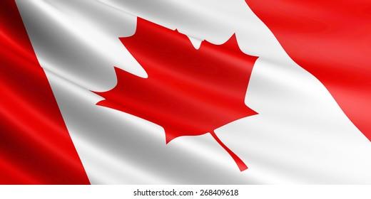 Canadian flag fluttering in wind.