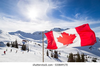 Canadian flag flying near the Rendezvous on top of Whistler Mountain.