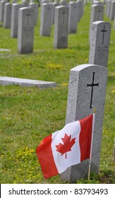 Canadian flag flying at a Canadian Soldier cemetery during Remembrance day