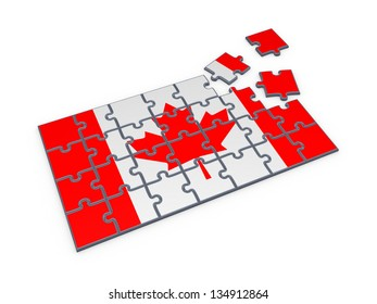 Canadian flag made of puzzles.Isolated on white background.3d rendered.