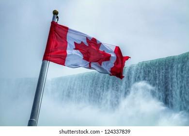 Canadian Flag at Niagara Falls Canada