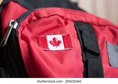 Canadian flag on a backpack