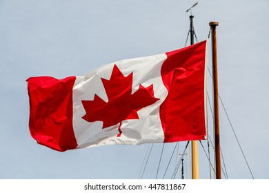 Canadian flag on a boat's mast in Halifax