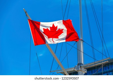 Canadian Flag on Ship in Halifax in Halifax, Nova Scotia, Canada