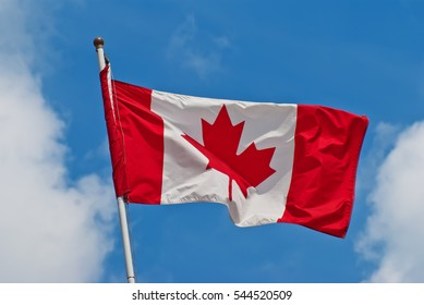 Canadian flag  in a strong wind
