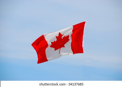 Canadian flag suspended in mid-air