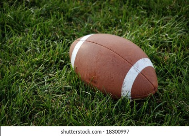 Canadian football ball on the green grass