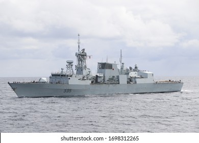 Canadian Forces warship HMCS Calgary in north Pacific Ocean on 02 April 2020.