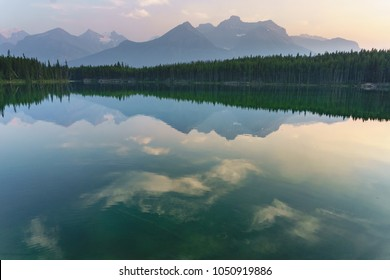 Canadian Herbert Lake in the rocky mountains  with reflexions of clouds