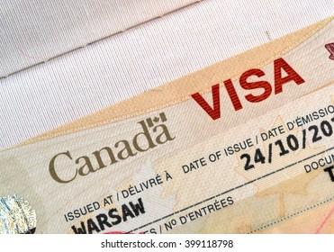Canadian immigration Visa in passport