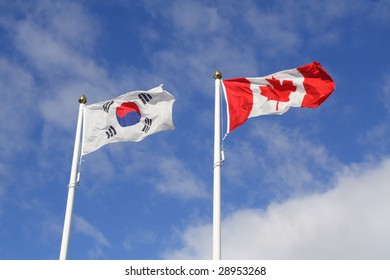 Canadian and Korean Flags