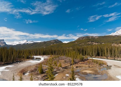 Canadian landscape with rivers and trees in Alberta