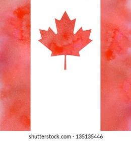 Canadian maple leaf flag design element with red watercolored and solt textured  and plain place for text