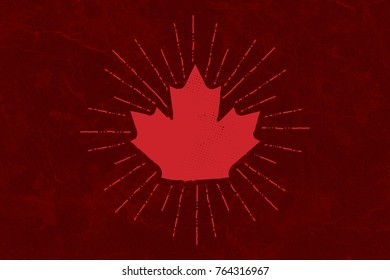 A canadian maple leaf graphic on a dark red marble background.