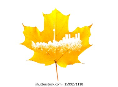 Canadian maple leaf and Toronto skyline