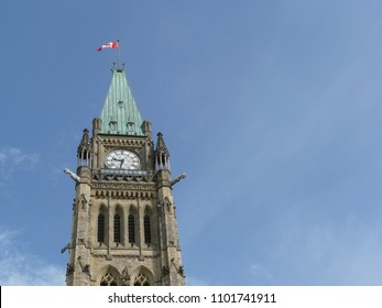 Canadian Parliament Building in Ottawa flying Canadian Flag