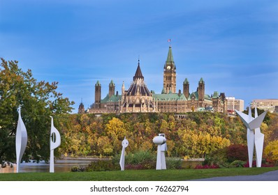 The Canadian Parliament Centre Block and Library seen from the Civilization Museum