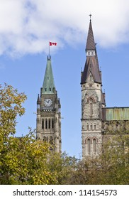 The canadian Parliament Centre Block Peace Tower along with the West Block Tower in Ottawa, Canada.
