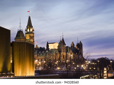 The Canadian Parliament Centre and East blocks  seen from the National Art Centre in Ottawa, Canada.