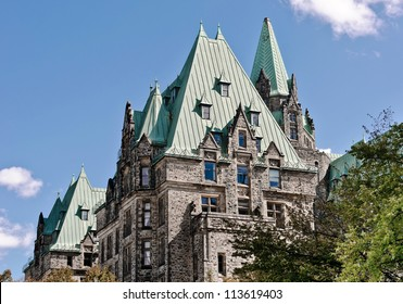 The Canadian Parliament Confederation Building seen from the West side in Ottawa, Canada.