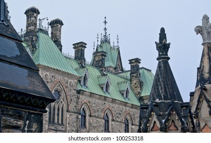 The canadian Parliament East block with all its intricate gothic ironwork design.
