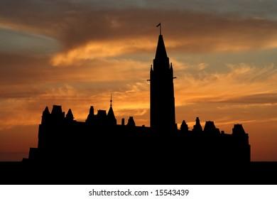 Canadian parliament Ottawa at sunset with beautiful sky illustration
