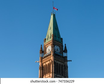 Canadian Parliament Peace Tower in Ottawa, Ontario, Canada