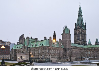 The canadian Parliament West Block building during winter.