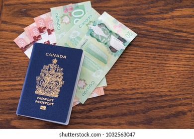 Canadian Passport with Canadian Dollars Ready to travel