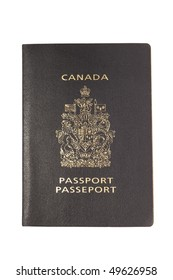Canadian passport isolated on white background.